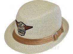 Шляпа детская челентанка шеврон солома Харлей