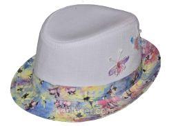 Шляпа детская челентанка нашивка бабочки