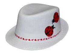 Шляпа детская челентанка нашивка божья коровка на белом