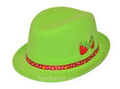 Шляпа детская челентанка нашивка клубнички на зеленом