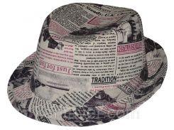 Шляпа детская челентанка комби бордовая газета