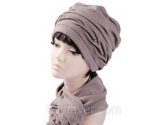 Шапка женская с шарфом в комплекте Аврора  Кофе