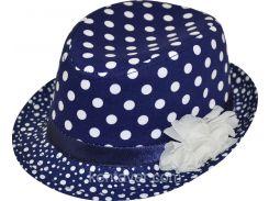 Шляпа детская челентанка цветы белые горохи на синем