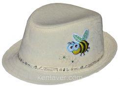 Шляпа детская челентанка нашивка пчелка на молоке