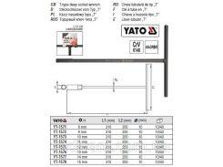 Ключ торцевой торцевий (тип Т) M=10 мм L1=310 мм L2=200 мм YATO-1573