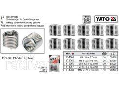 Вставки спіральні для ремонту різьби М6 х 1,0 х 10,8 мм упаковка 20 шт YATO-1765