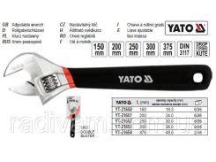 Ключ разводной розвідний гумова ручка L=300 мм YATO-21653