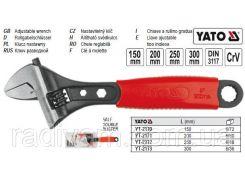 Ключ разводной розвідний ручка ПВХ L=300 мм YATO-2173