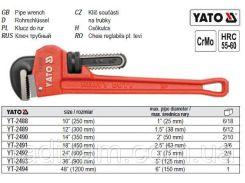 """Ключ трубний прямий 36""""  l=900 мм YATO-2493"""