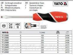 Отвертка викрутка шліцева ударна l= 150 мм шліц= 8 мм YATO-25989