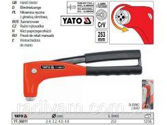 Заклепочник заклепник ручний обертова головка Ø= 2,4; 3,2; 4,0; 4,8 мм l= 280 мм YATO-36011