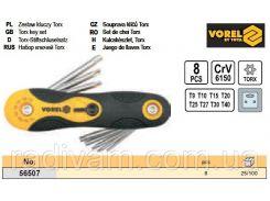 Набор ключ шестигранник TORX Т9-Т40 8шт CrV VOREL-56507