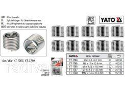 Вставки спіральні для ремонту різьби М12 х 1,75 х 16,3 мм упаковка 10 шт YATO-1768