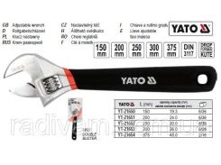 Ключ разводной розвідний гумова ручка L=250 мм YATO-21652