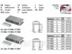 Скобы скоби степлера h= 10 мм b= 10,6 мм t= 1,2 мм 1000 шт YATO-7024