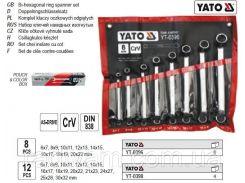 Набор ключей набір ключів накидних вигнутих хромванадій М=6х7-20х22 мм 8шт YATO-0396