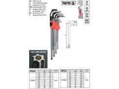 Набор ключи Г-подібні з отвором короткі Т10-Т50 CrV 9шт ТОRХ YATO-0511