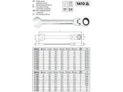 Ключ комбинированный комбінований тріщатка шарнір М=9 мм l=145 мм CrV YATO-1675