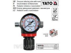 """Клапан редуктор пневматичний манометр 1/4"""" P= 1.2 MPa YATO-2381"""