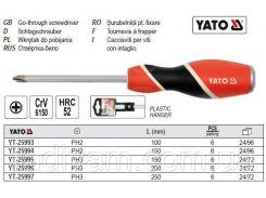 Отвертка викрутка хрестова ударна PHILIPS PH2 l= 100 мм YATO-25993
