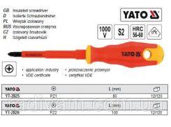Отвертка викрутка діелектрична ізольована 1000V PZ2 l=100мм YATO-2826