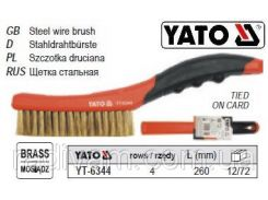 Щетка щітка латунний дріт  4-рядна ручка пластик l= 260 мм YATO-6344