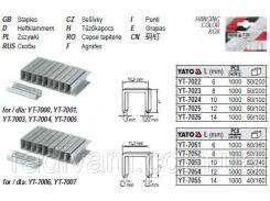 Скобы скоби степлера h= 8 мм b= 11,2 мм t= 0,7 мм 1000 шт YATO-7052