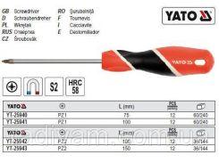 Отвертка викрутка хрестова POZIDRIV PZ2 l= 150 мм YATO-25943