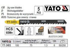 Набор полотно для електролобзика (дерево) 6TPI l=100мм набір 5шт YATO-3403
