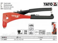Заклепочник ручной Ø=2,4-4,8 мм l=250 мм YT-36007