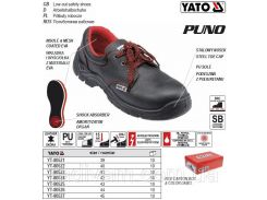 Туфли рабочие PUNO кожа полиуретан размер 44 YT-80526