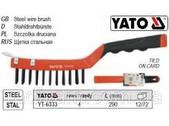 Щетка щітка сталева ручка пластик 4-рядна l=200мм YATO-6333