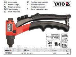 Заклепочник заклепник ручний Ø= 2,4; 3,2; 4,0; 4,8 мм  l= 200 мм YATO-36012