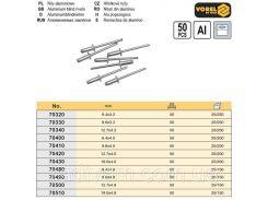 Заклепки алюминий 9,6х4,8 мм 50 штук VOREL-70490