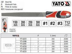 Напильник по металлу плоский l=250 мм #1 YATO-6223