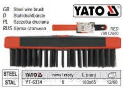 Щетка щітка сталевий дріт 6-рядна ручка пластмасса 180x65 мм YATO-6334