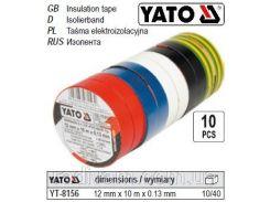Набор изолента стрічки ізоляційні 12 мм х 10 м 5 кольорів 10шт YATO-8156