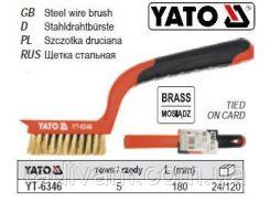 Щетка щітка латунний дріт  5-рядна ручка пластик l= 180 мм YATO-6346