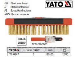 Щетка щітка латунний дріт  6-рядна ручка пластик 180х65 мм YATO-6347