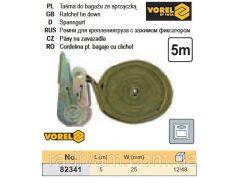 Ремень ремінь кріплення багажу зажим фіксатор 25мм х 5м 2шт VOREL-82341
