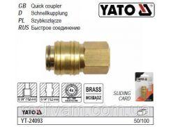 """Быстросъемное соединение пневмо латунь Ø= 1/4""""-3/8"""" YATO-24093"""