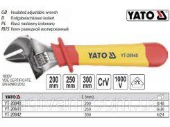 Ключ разводной изолированный VDE 1000 В l=200 мм YT-20940