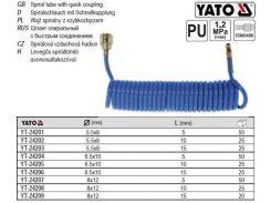Шланг пневматический полиуретан Ø=5.5/8 ≤12 Bar l=10 м YT-24202