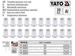 Набор нитогайка алюминий М3 l=9 мм 20 штук YT-36451