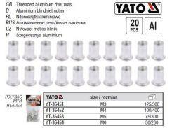 Набор нитогайка алюминий М4 l=11 мм 20 штук YT-36452