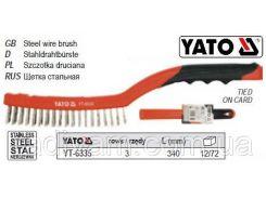 Щетка щітка нержавіючий сталевий дріт 3-рядна ручка пластмасса l= 340 мм YATO-6335