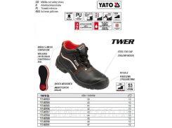 Ботинки рабочие кожа TWER защита S3 размер 44 YT-80788