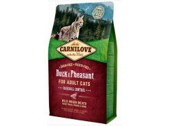 Сухой корм для взрослых кошек Carnilove Cat Duck & Pheasant Hairball Control для выведения волосяных комков 2 кг