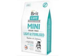 Сухой корм для взрослых собак миниатюрных пород с избыточным весом или стерилизованных Brit Care Mini Light & Sterilised 7 кг