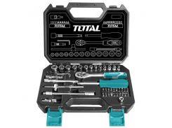 """Набор инструментов TOTAL THT141451 ключей, головок торцевых 1/4"""", 45 предметов"""
